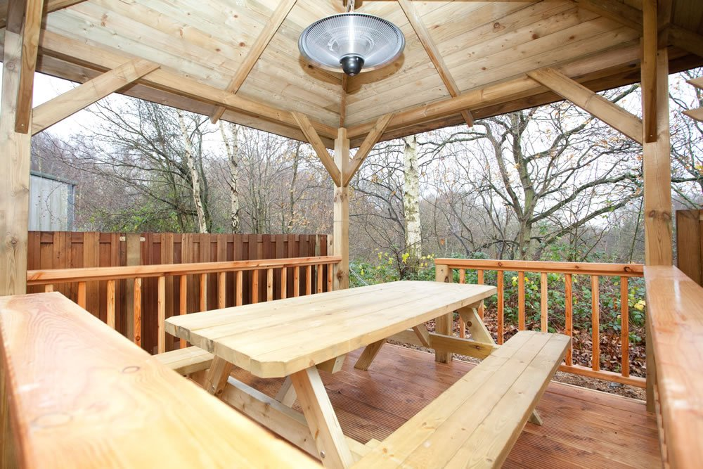 Larch balustrade being used on a Tourist gazebo