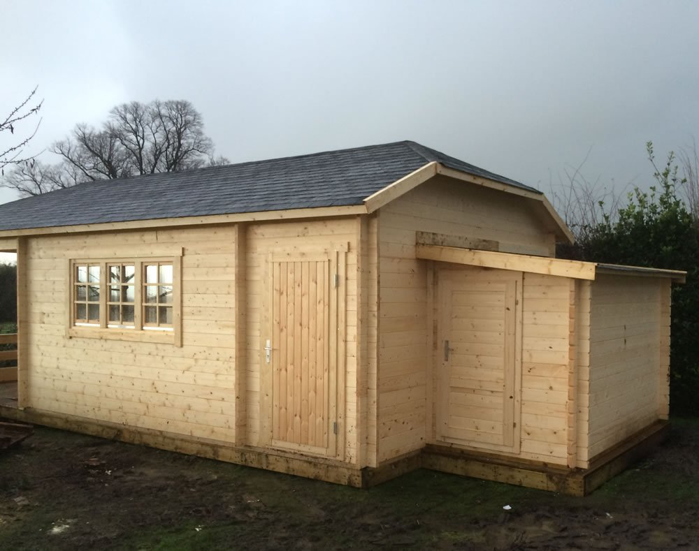 Sibella log cabin with an extra log cabin annexe fitted.