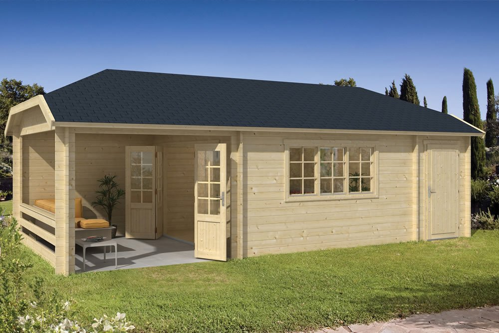 Sibella log cabin in 45mm logs with a shed and side gazebo
