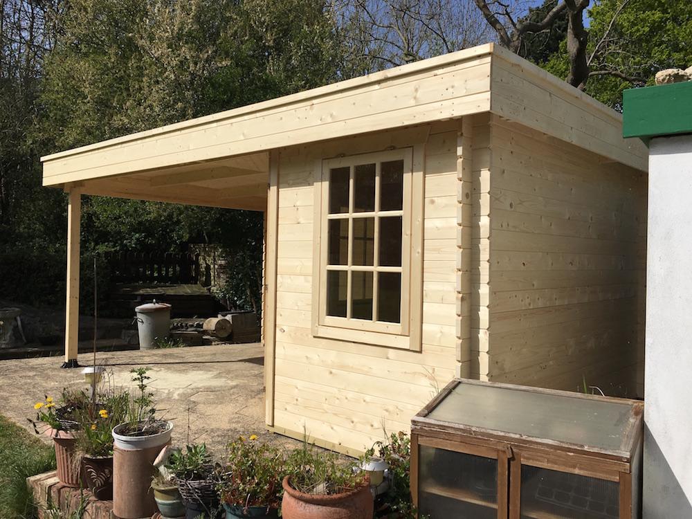 Stig flat roof 28mm log cabin