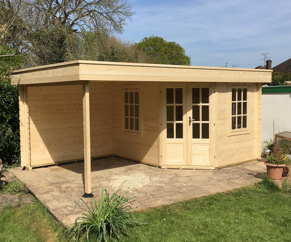 Stig Log Cabin With Side Porch 3 0x2 5m 2 5m