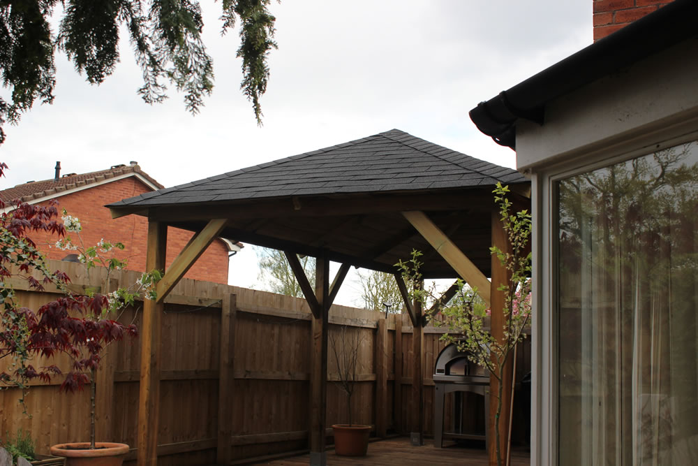 Superior gazebo with optional felt shingles