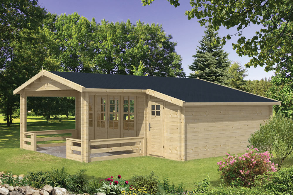 liverpool 58mm log cabin with a side shed and veranda - Garden Sheds With Veranda