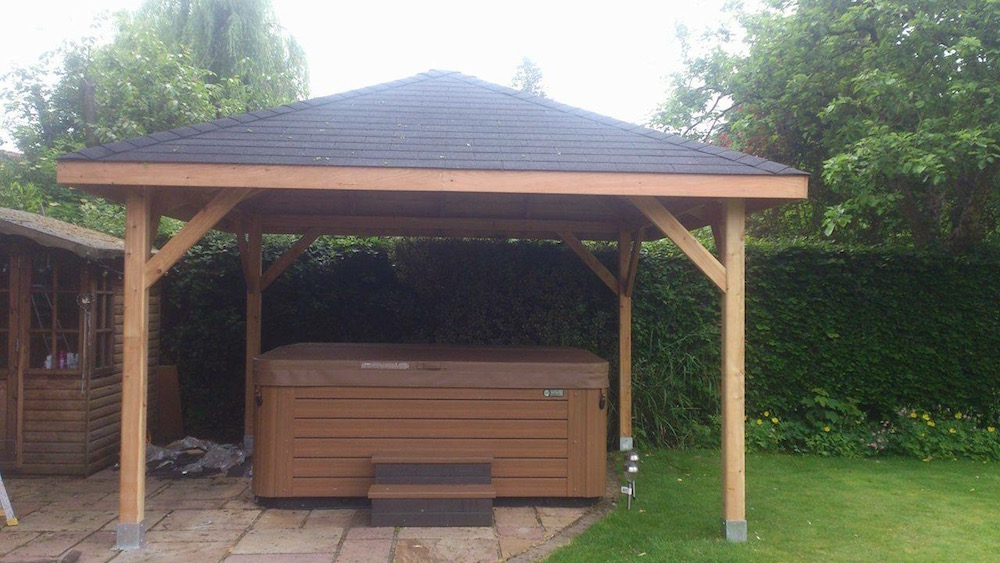Syros Larch Gazebo ideal as a hot tub cover