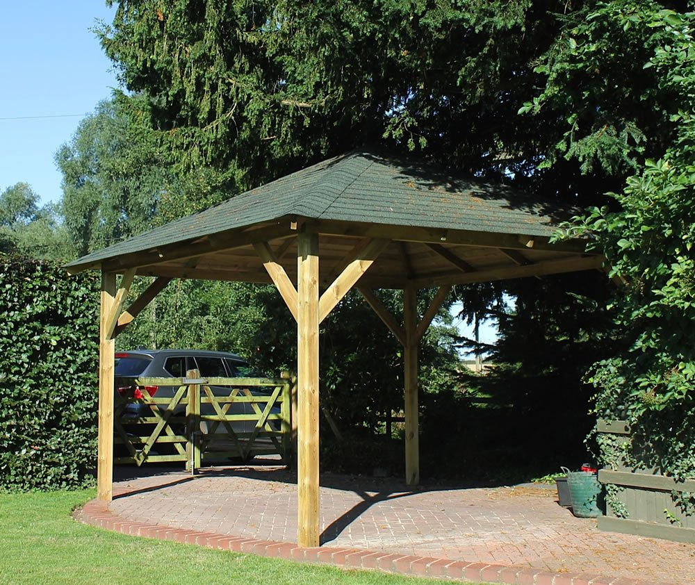 Classico wooden gazebo with felt shingles
