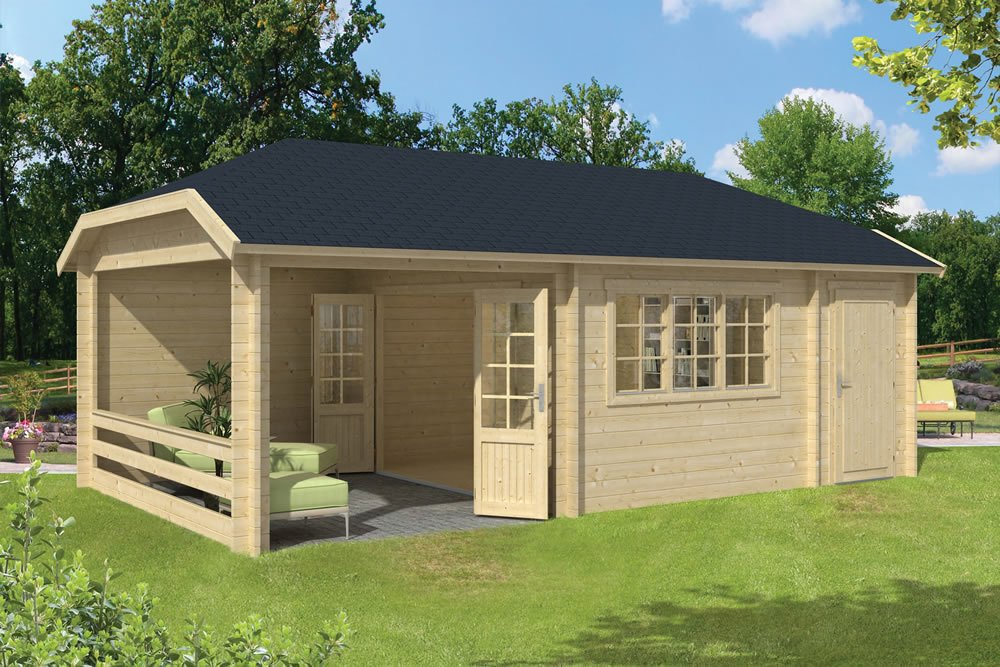 Viveka log cabin with storage shed in 45mm log and double glazed
