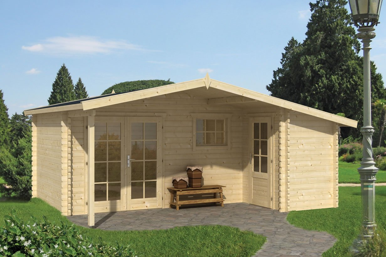 Wolfgang 45mm log cabin with integral shed