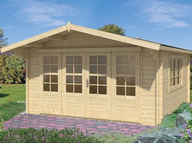 Blackpool Log Cabin 4.4 x 3.4m in 58mm logs and Double Glazed