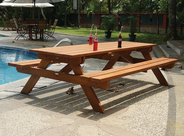 Terrific Large Hardwood Picnic Table Bench Set Inzonedesignstudio Interior Chair Design Inzonedesignstudiocom