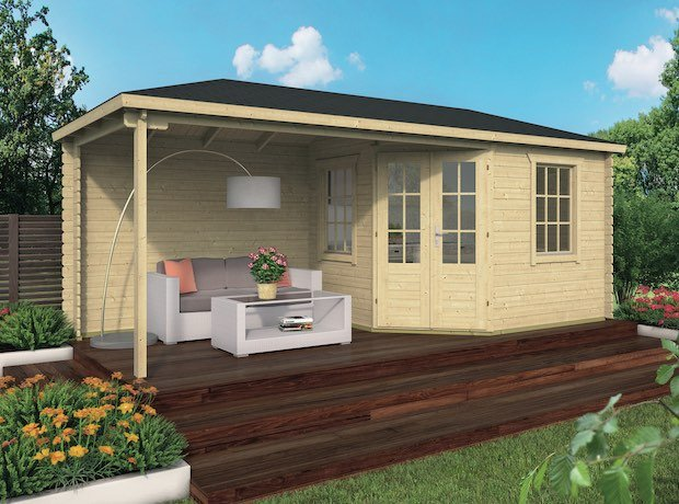 Corner Log Cabin Niklas with Side Porch 5.75 x 2.50m