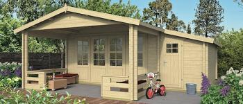 Suriname Log Cabin 5.4 x 5.4 with adjoining 1.5m shed