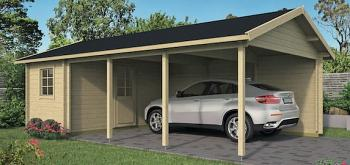 Log Cabin Carport Ever 7.7 x 4.3m