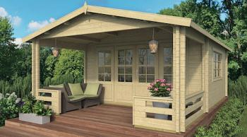 Malta Log Cabin 5.4 x 4.4m with 2m veranda in 58mm logs and double glazed