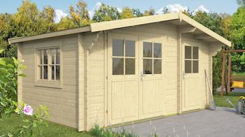 Lukas Log Cabin 4.5x3m with Adjoining Shed in 34mm logs