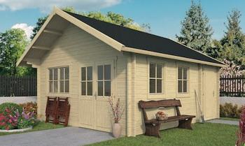 Berlin Log Cabin 4.9x5.3m Upper Floor and Double Glazed in 44mm Logs - New