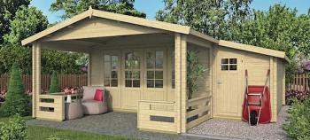Manchester Log Cabin 4.4 x 4.4m with Shed