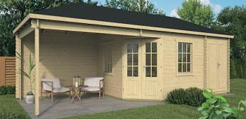 Olson Corner Log Cabin with Shed 7.05m x 3.0m