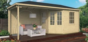 Corner Log Cabin Niklas with Side Porch 5.76 x 2.50m