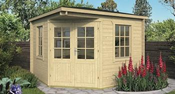 Emma Corner Log Cabin 3x3m - 2.5m Height DOUBLE GLAZED