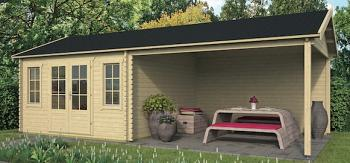 Kwaspa Log Cabin with Side Porch 8.0 x 4.0m