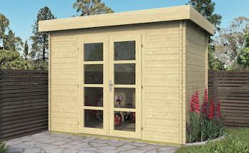 Mini Modern flat roof Log Cabin 3x2m
