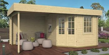 Stig Log Cabin With Side Porch 3.0x2.5m+2.5m