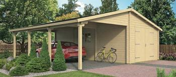 Log Garage With Carport Berggren 4 x 8.3m