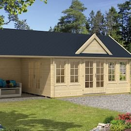 Ben Clockhouse Log Cabin 5.5x4m with Canopy