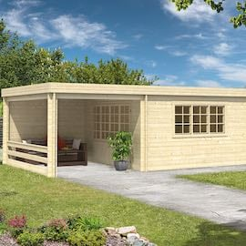 Benny Log Cabin with Gazebo 8.50 x 4.20m - Double Glazed