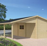 Log Garage With Carport Berggren 4 x 8.3m