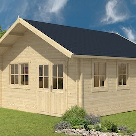 Berlin Log Cabin 4.9x5.3m Upper Floor and Double Glazed in 45mm Logs