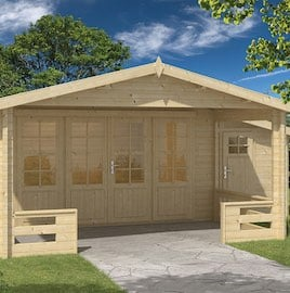 Coventry Log Cabin 4.4 x 3.4m Shed and Veranda