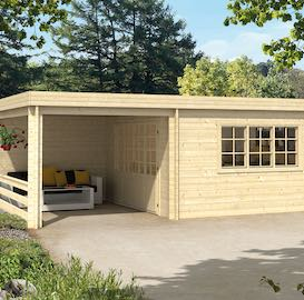 Eila Log Cabin with Gazebo 7.00 x 4.20m - Double Glazed