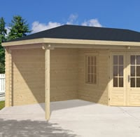 Jannie Log Cabin 3x5.76m with Gazebo