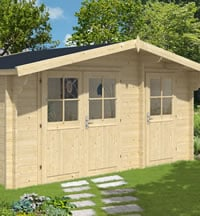 lukas log cabin 45x3m with adjoining shed in 34mm logs