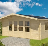 Newcastle Log Cabin 5.4 x 4.4m 58mm logs and Double glazed