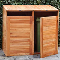 Hardwood Double Wheelie Bin Store