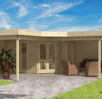 Jutka Gazebo Log Cabin 6.78 x 6.78m - Double Glazed