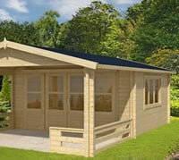Leeds Log Cabin 4.4 x 4.4m 3m Veranda