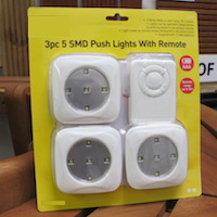 Push Lights with Remote Control 3pc
