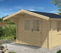 Lennart Log Cabin 3 x 3m in 58mm logs - Double Glazed