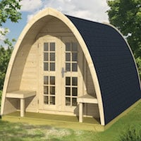 Log Cabin Camping Pod 2.33m x 4m - Double Glazed