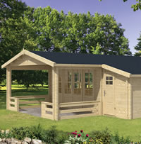 Liverpool Log Cabin 5.4 x 5.4 with adjoining 1.5m shed and 2m veranda