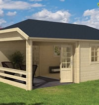Torkel Log Cabin with Gazebo 7.00 x 4.20m - Double Glazed