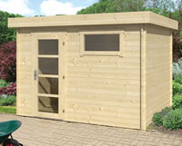 Ultramodern Flat Roof Log Cabin 3.2x2.6m