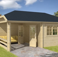 Vigdis Log Cabin with Gazebo 5.98 x 4.20m - Double Glazed