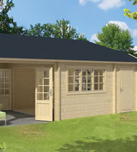 Viveka Log Cabin with Gazebo 7.50 x 4.20m - Double Glazed