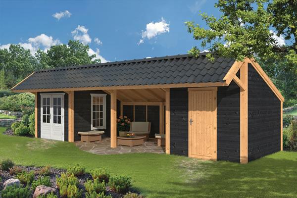 Asymmetrical Apex roof larch garden building